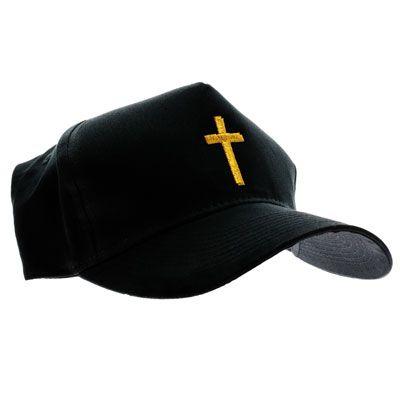 Christian Cross Black Baseball Cap, Gold or Silver