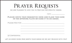 Church Prayer Request Cards (Pkg of 50)