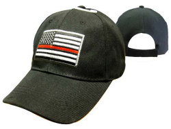 Red Line American Flag Baseball Cap Black