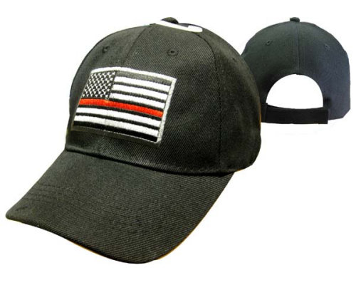 Red Line American Flag Baseball Cap Black