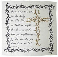 Prayer Cloth Cross & Thorns 1 Peter 2:24