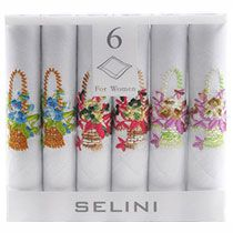 Women's Cotton Handkerchiefs with Floral Embroidery - Set of 6