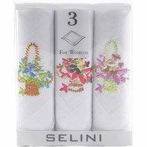 Women's Embroidered Flower Baskets 3 Cotton Handkerchiefs