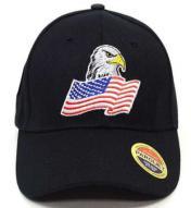 Eagle American Flag Baseball Cap Black