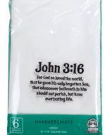 John 3:16 Men's Cotton Handkerchiefs (Pkg of 6)