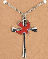 Pentecost Necklace  Cross and Red Dove