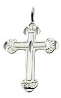 Sterling Silver Budded Cross Necklace