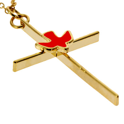 Confirmation Bar Cross With Spirit Dove Necklace