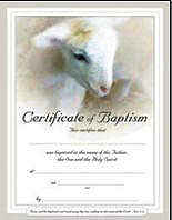 Church Lamb Baptism Certificates