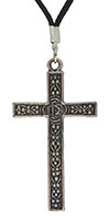 Large Silver Plated Cross Necklace Ornate