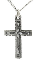 Cross with Flowers Necklace Pewter