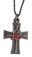 Confirmation Red Dove Cross Necklace