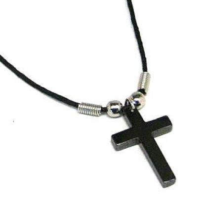 Black Hematite Cross Necklace