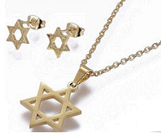 Star of David Necklace, Earring  Gold