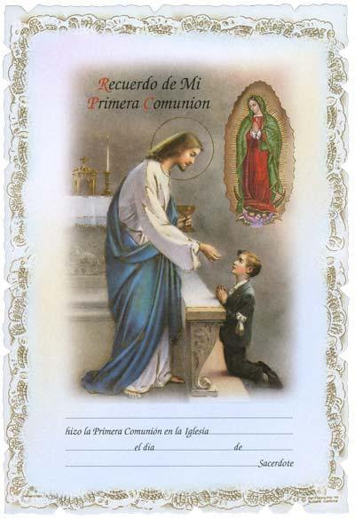 Primera Comunion (First Communion Certificates) Spanish