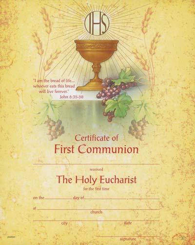 Certificate of First Communion & Envelopes (Pkg of 10)