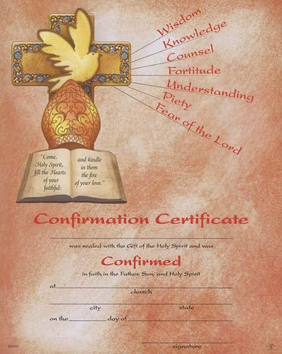 Confirmation Certificate Cross & Dove