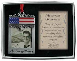 In Loving Memory Photo Ornament with USA Flag