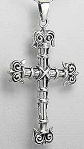 Sterling Silver Tied Rope Easter Cross Necklace