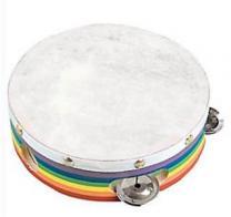 Wood & Skin Tambourine Rainbow 6 Inch