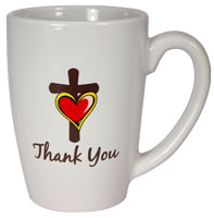 Thank You Cross with Heart Ceramic Mug
