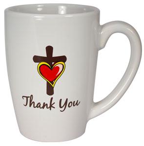Thank You Cross with Heart Ceramic Mug