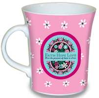 Faith Hope Love Mug Ceramic Pink