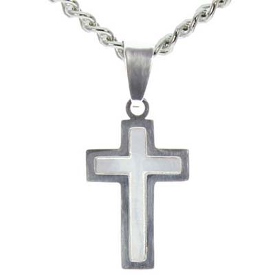 Stainless Steel Outline Cross with White Fill