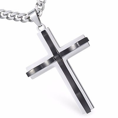 Curved Cross Pendant Necklace Silver / Black