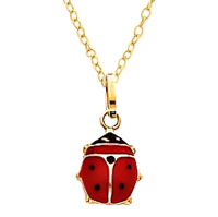 LadyBug Necklace Enameled Gold