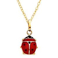 LadyBug Necklace Enameled Gold