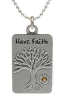 Mustard Seed Tree of Life Dog Tag Necklace