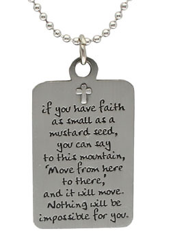 Mustard Seed Tree of Life Dogtag Necklace Parable