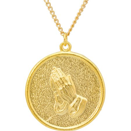 Praying Hands Coin Necklace Christian Jewelry