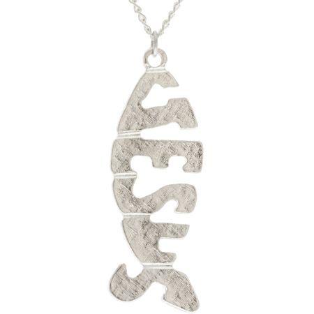 Jesus Fish Silver Pendant Necklace