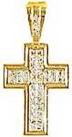 Sterling Cross CZ Pendant, Gold Plated