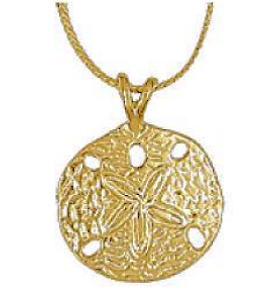 Sand Dollar Necklace Gold Pierced