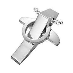 Stainless Steel Interlocking Circle Geometric Cross Pendant