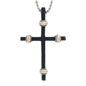 Leather Cross Necklace - Silver Beads