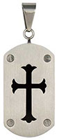 Cross Dog Tag -  Lucite Center Pendant