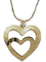 Gold Plated Heart in Heart Pendant