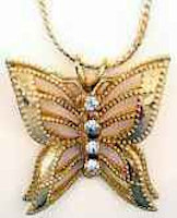 Butterfly pendant necklace with crystals
