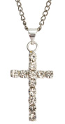 1871a Silver Crystal Cross Pendant