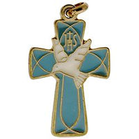 Blue Confirmation Cross Dove Necklace