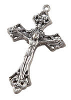 Silver Oxidized Crucifix Pendant  Necklace