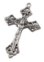 Silver Oxidized Crucifix Pendant  Necklace