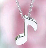 Music Note Necklace Silver