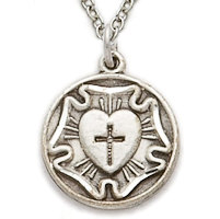 Sterling Silver Lutheran Rose Necklace