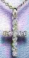 Sterling Cross  Cubic Zirconium Pendant