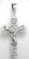 Large Sterling Crucifix Pendant  Necklace